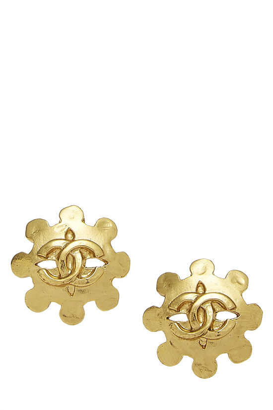 Gold CC Wheel Earrings, , large image number 0