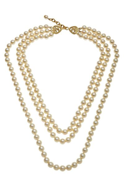 Gold & Faux Pearl Layered Long Necklace
