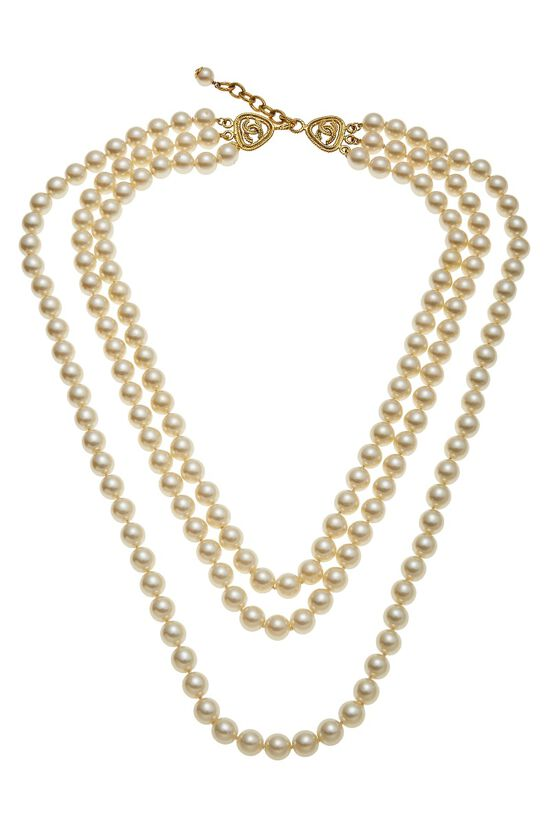 Gold & Faux Pearl Layered Long Necklace, , large image number 0