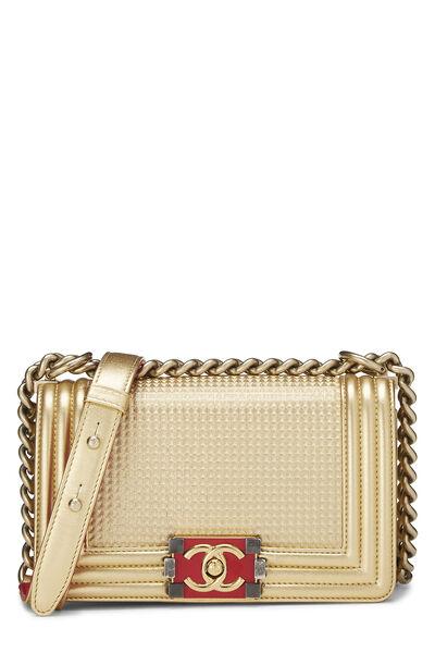 Metallic Gold Quilted Calfskin Boy Bag Small