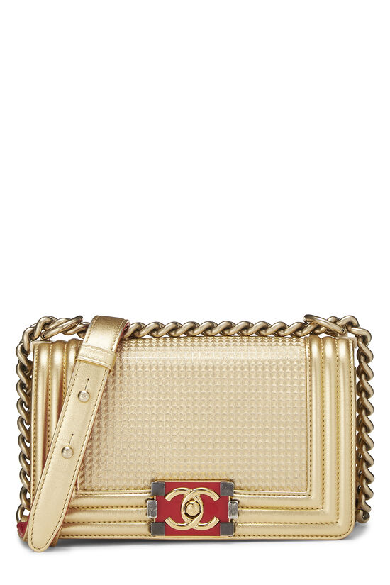 Metallic Gold Quilted Calfskin Boy Bag Small, , large image number 0