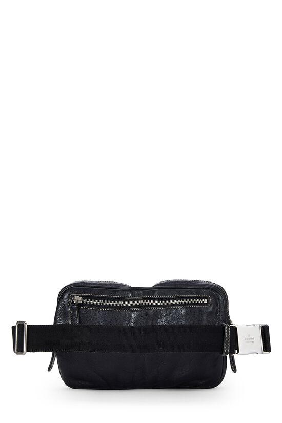 Black Leather Zip Pouch Belt Bag, , large image number 3