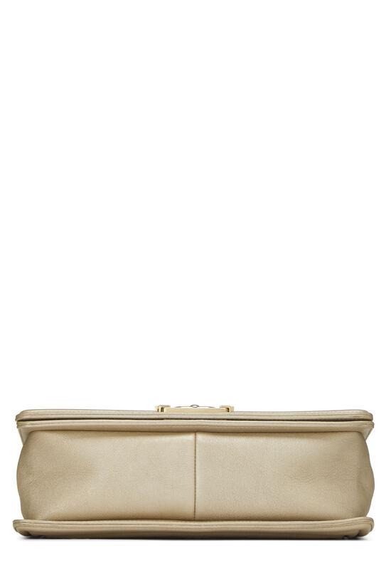 Paris-Dubai Gold Leather Woven 'CC' Boy Bag Medium, , large image number 5