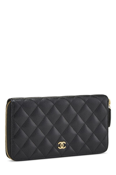 Black Quilted Caviar Continental Zip Wallet, , large