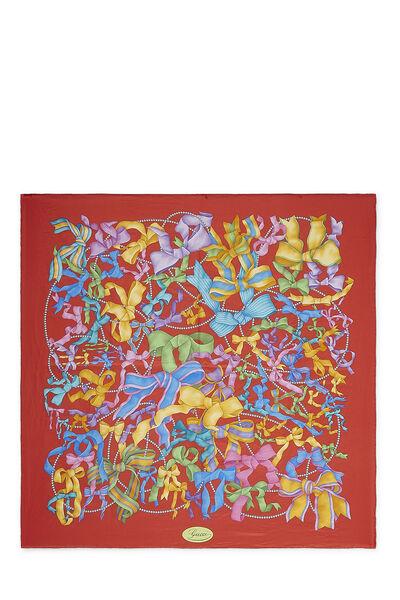 Red Ribbon Print Silk Scarf