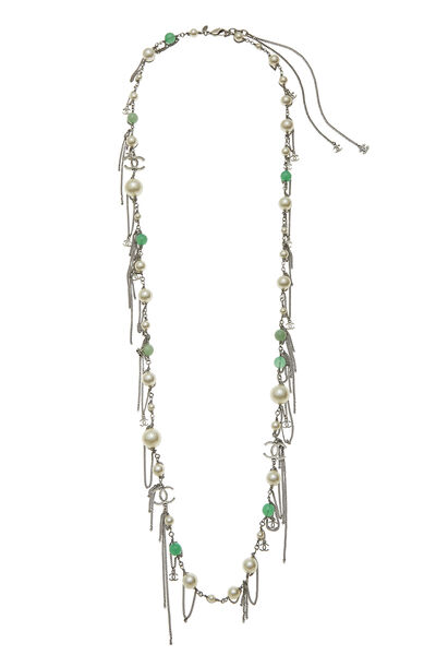 Green & Faux Pearl Long Necklace