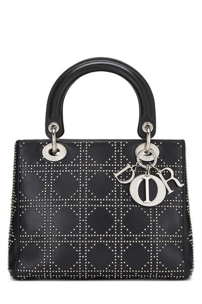 Black Cannage Studded Lambskin Lady Dior Medium