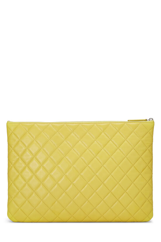 Yellow Quilted Lambskin Pouch, , large image number 2