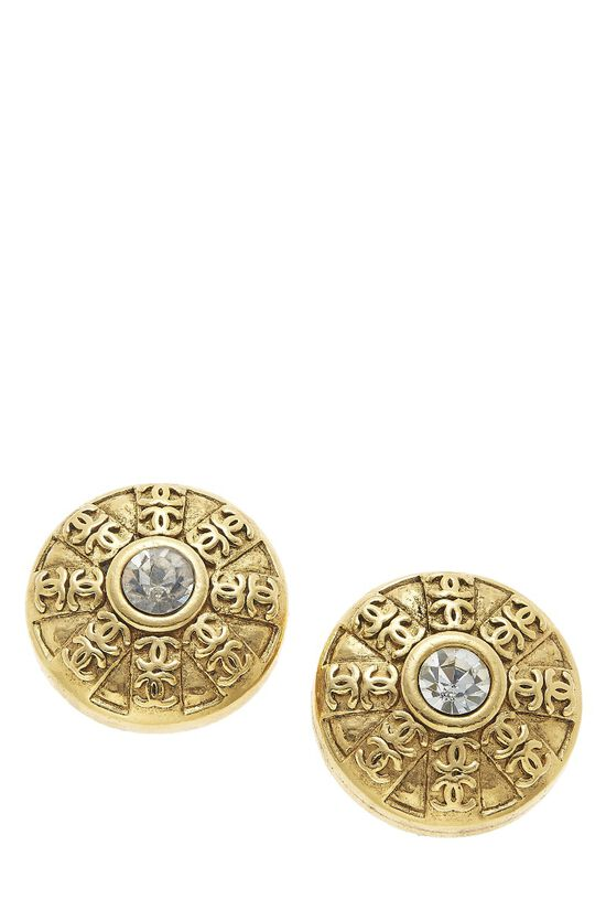 Gold 'CC' Engraved Crystal Clip-On Earrings, , large image number 0