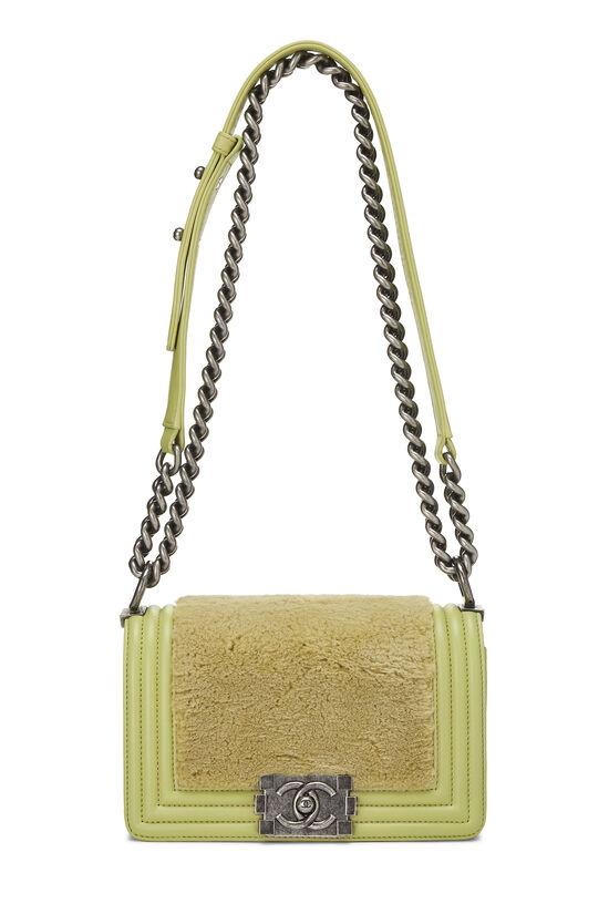 Green Fur & Calfskin Boy Bag Small, , large image number 1