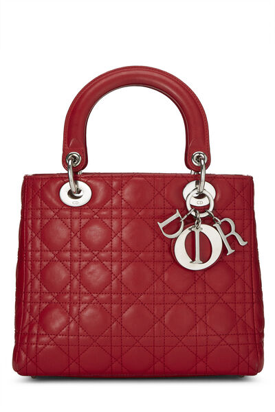 Red Cannage Quilted Lambskin Lady Dior Medium