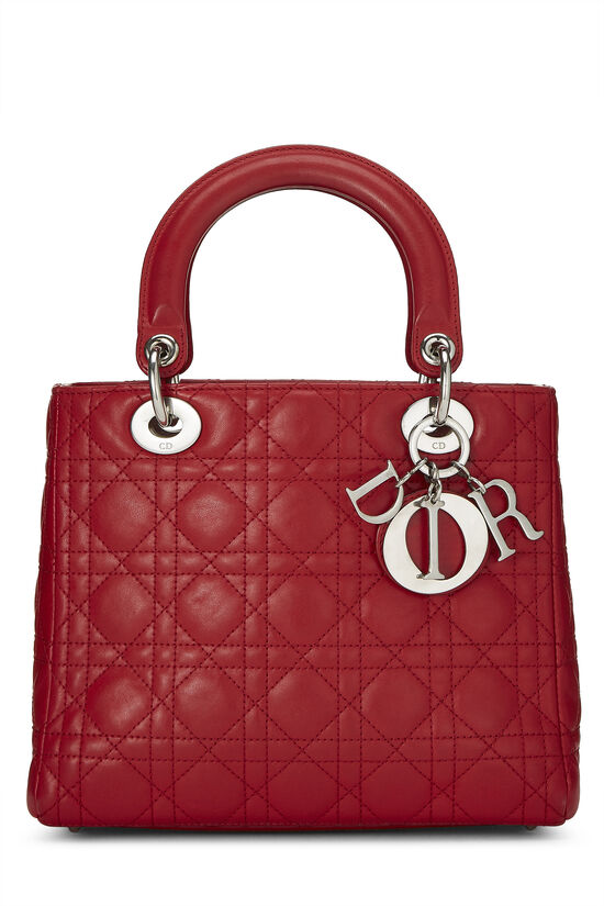 Red Cannage Quilted Lambskin Lady Dior Medium, , large image number 0
