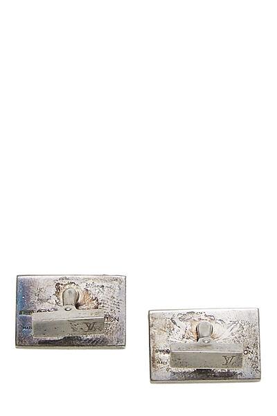 Silver Monogram Cufflinks & Damier Ebene Case, , large