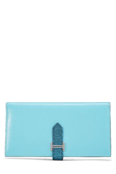Aqua Lizard & Leather Bearn Wallet
