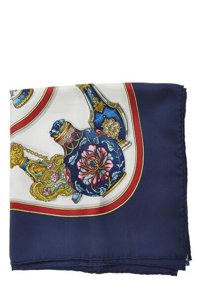 Navy & Multicolor 'Qu' Importe le Flacon' Silk Scarf 90, , large