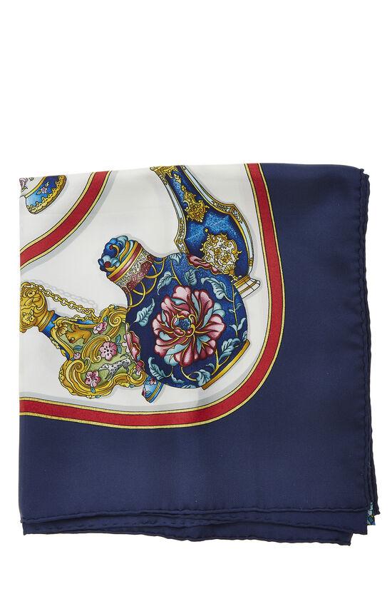 Navy & Multicolor 'Qu' Importe le Flacon' Silk Scarf 90, , large image number 1