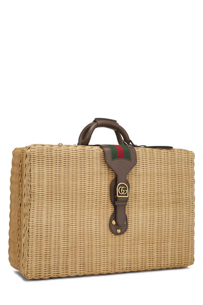 Natural Wicker Web Suitcase, , large