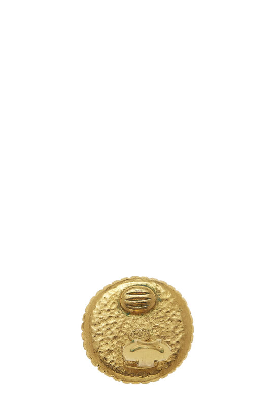 Gold Border 'CC' Round Earrings, , large image number 2