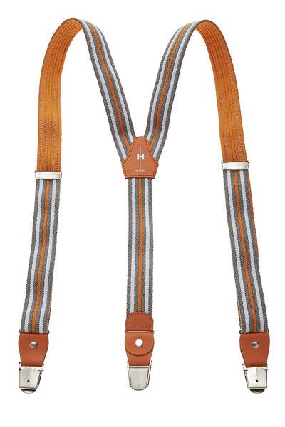 Orange & Multicolor Striped Elastic Suspenders, , large