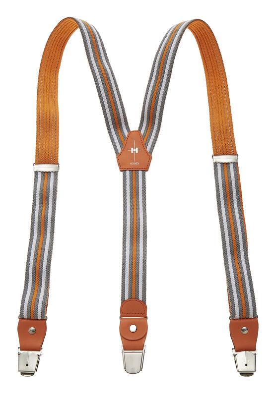 Orange & Multicolor Striped Elastic Suspenders, , large image number 1