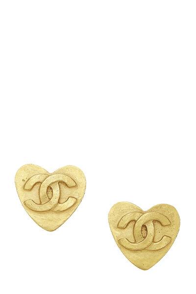 Gold 'CC' Heart Earrings