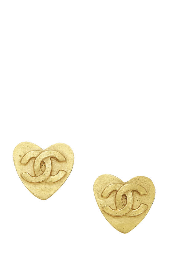Gold 'CC' Heart Earrings, , large image number 0