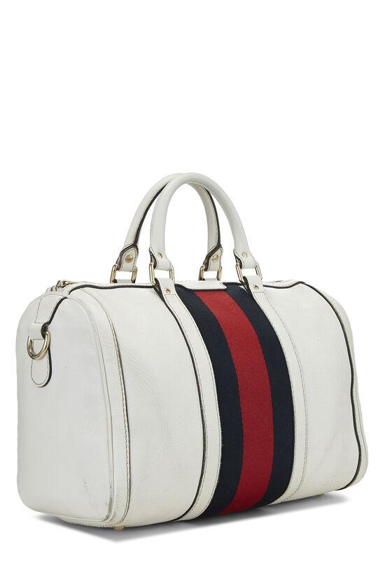 White Leather Web Boston Bag, , large image number 2