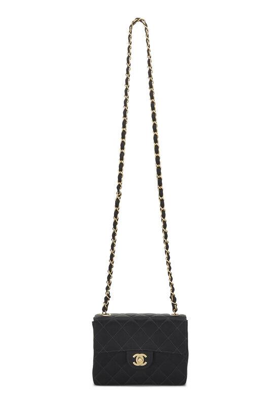 Black Quilted Satin Half Flap Mini, , large image number 6