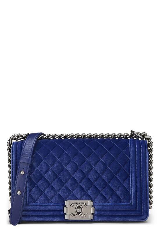 Blue Quilted Velvet Boy Bag Medium, , large image number 0