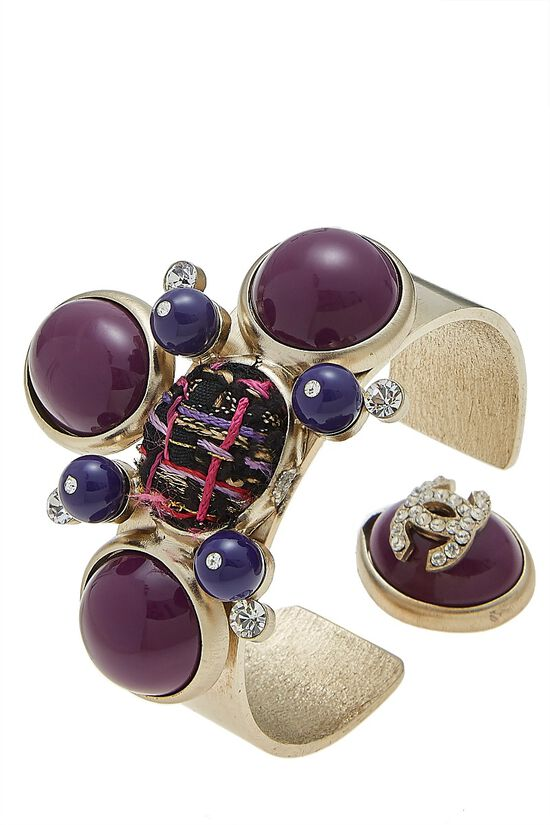 Gold & Purple Stone Cluster Cuff, , large image number 0