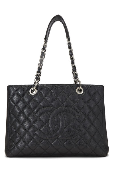Black Quilted Caviar Grand Shopping Tote (GST)