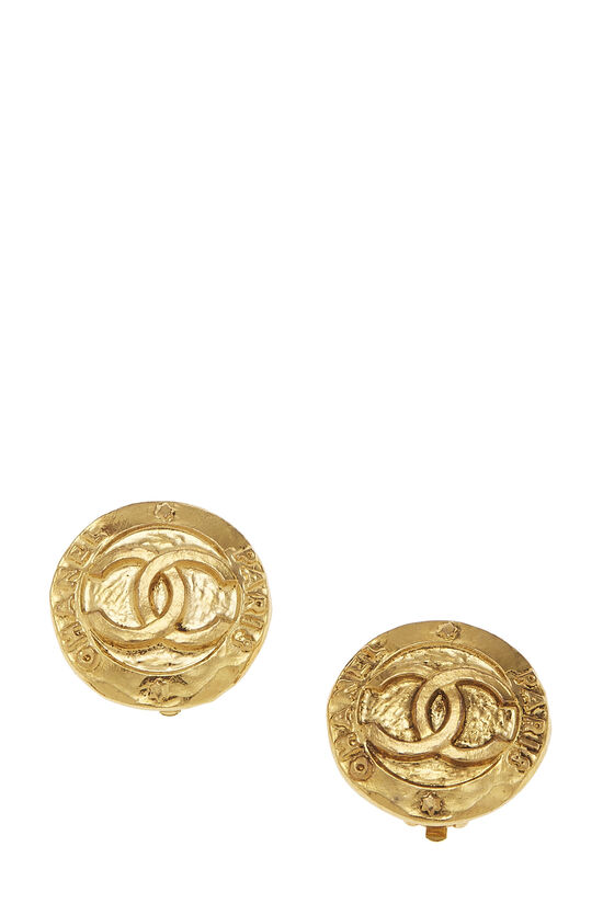 Gold Paris Round Earrings Small, , large image number 0