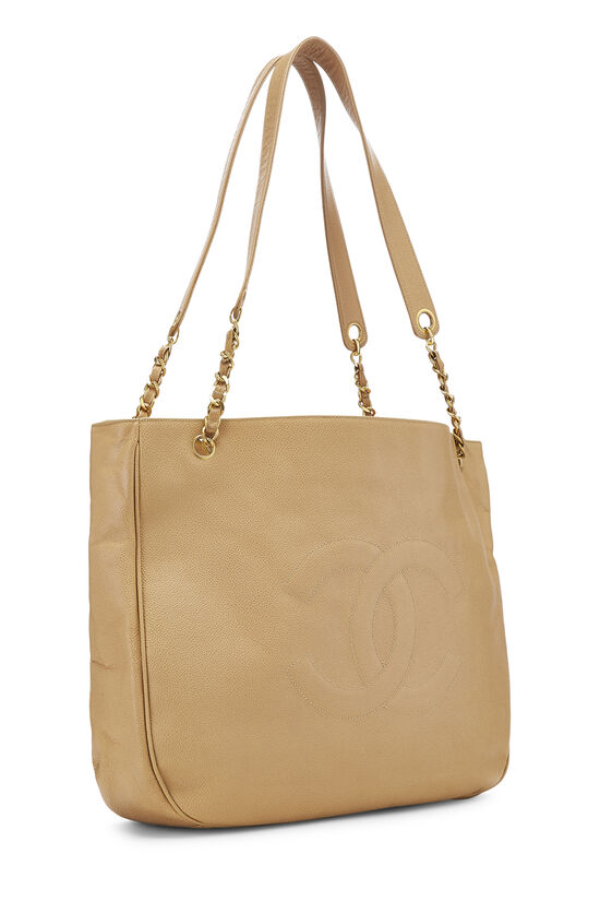 Beige Caviar 'CC' Tote Large, , large image number 1