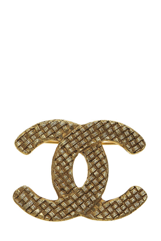 Gold Woven 'CC' Pin, , large image number 0