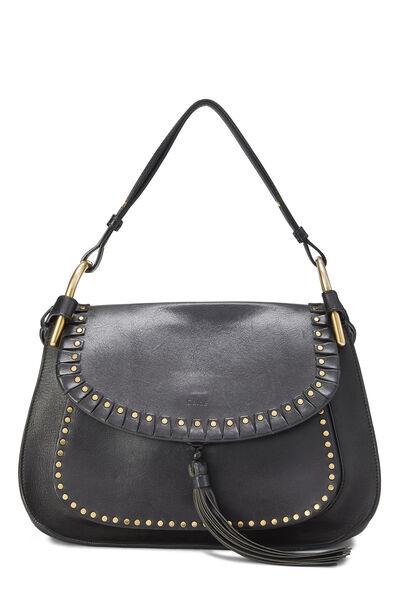 Black Leather Hudson Double Carry Shoulder Bag