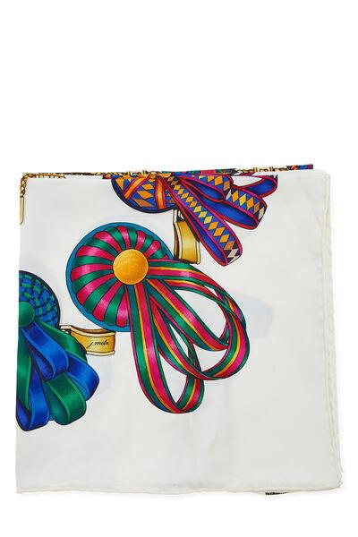 White & Multicolor 'Les Rubans du Cheval' Silk Scarf 90, , large
