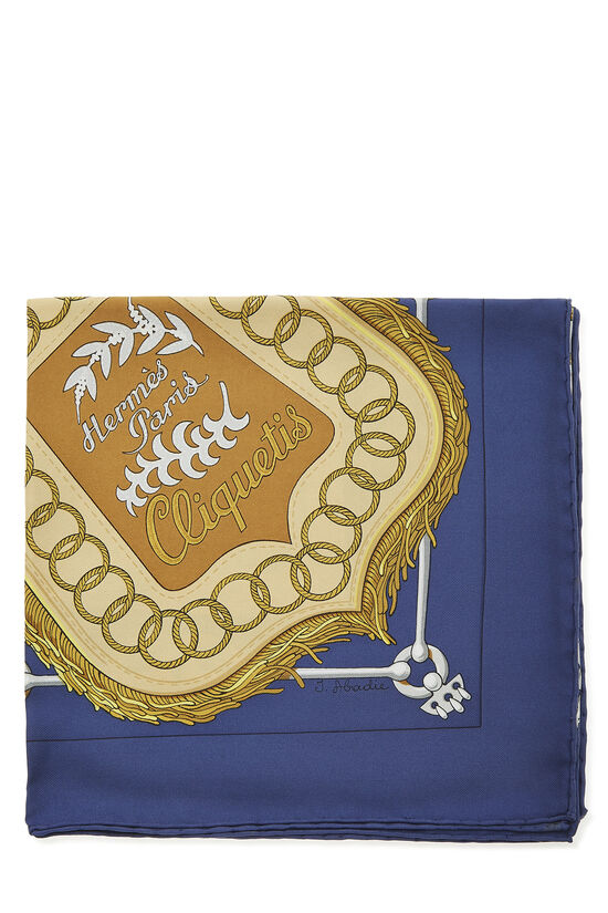 Blue & Multicolor 'Cliquetis' Silk Scarf 90, , large image number 1
