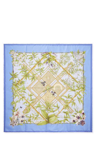 Blue & Multicolor 'Serenite' Silk Scarf 90