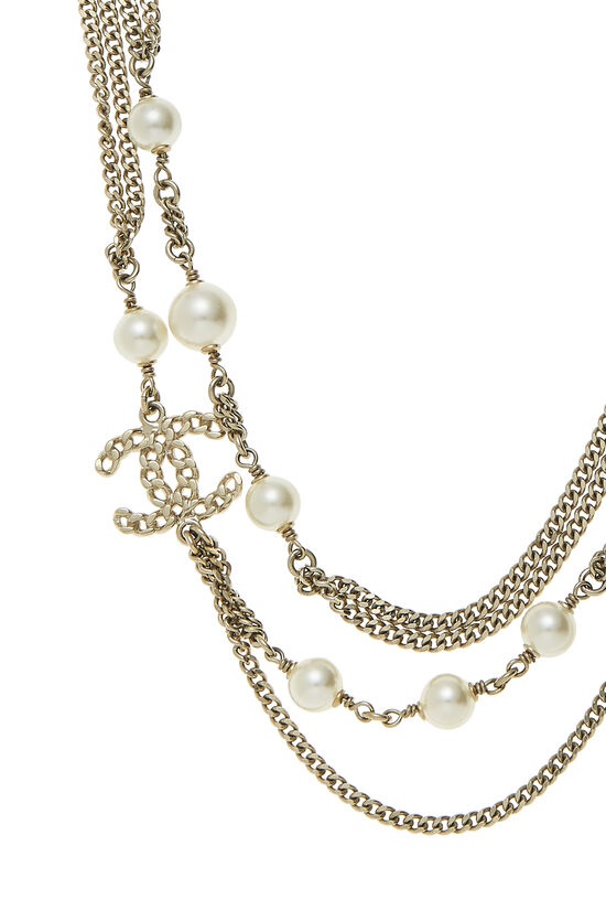 Gold & Faux Pearl Layered Necklace, , large image number 1