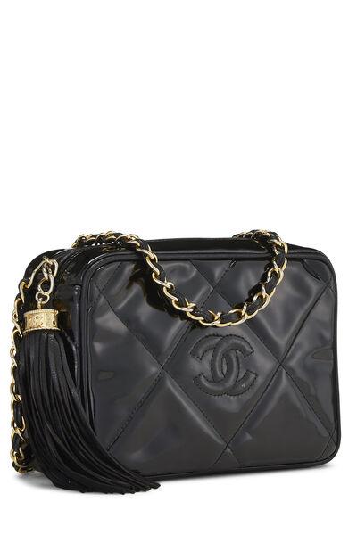 Black Patent Leather Diamond 'CC' Camera Bag Mini, , large
