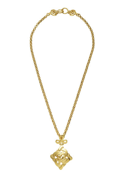 Gold Woven 'CC' Necklace