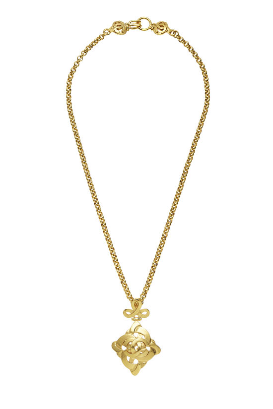 Gold Woven 'CC' Necklace, , large image number 0