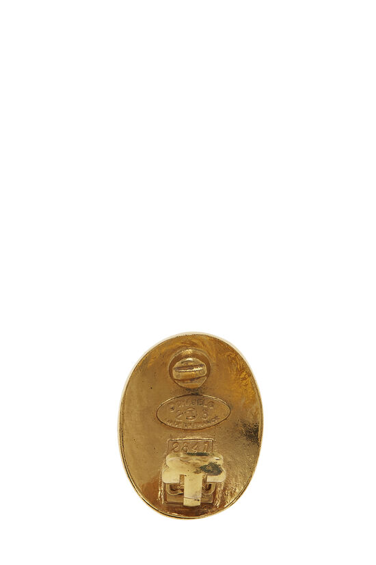 Gold 'CC' Paris Oval Earrings, , large image number 2