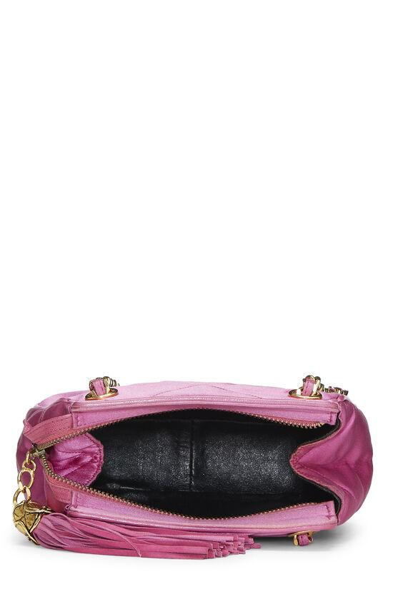 Pink Quilted Satin 'CC' Shoulder Bag Mini, , large image number 5