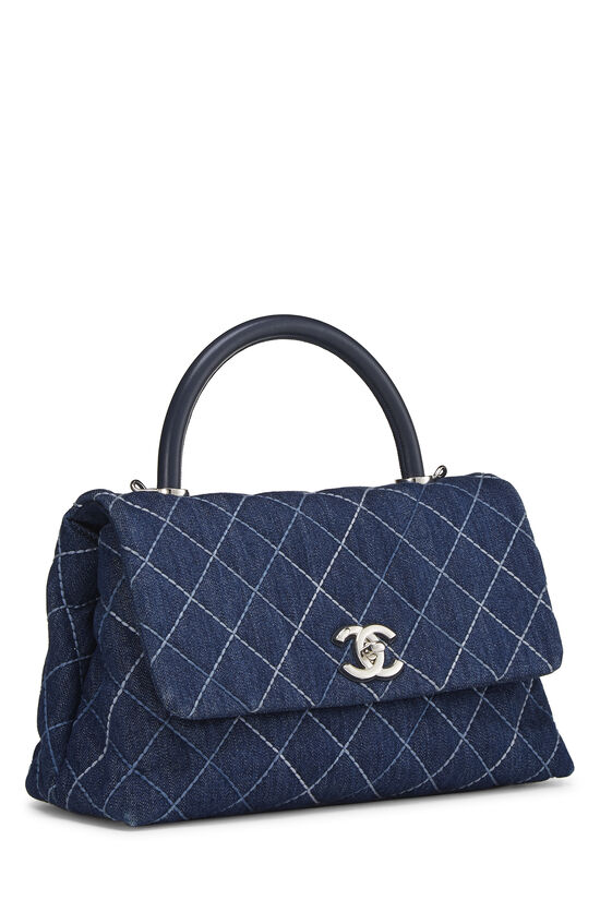 Blue Quilted Denim Coco Handle Bag Small, , large image number 2