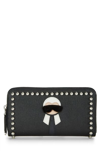 Black Coated Canvas Karlito Wallet