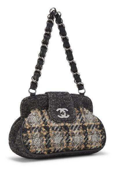 Black & Beige Tweed Shoulder Bag, , large