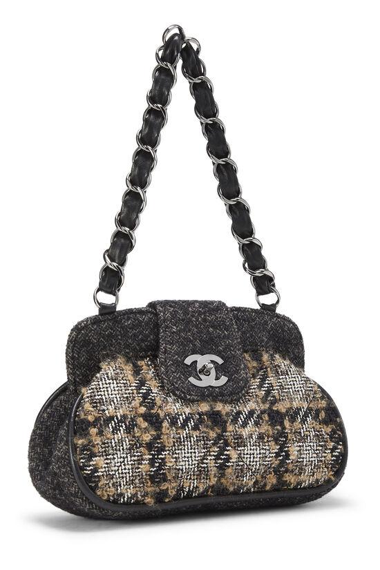 Black & Beige Tweed Shoulder Bag, , large image number 1