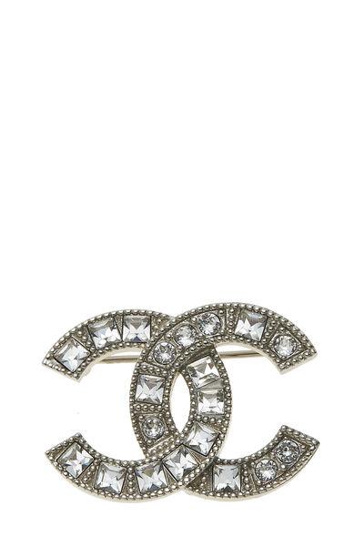 Silver Crystal 'CC' Pin