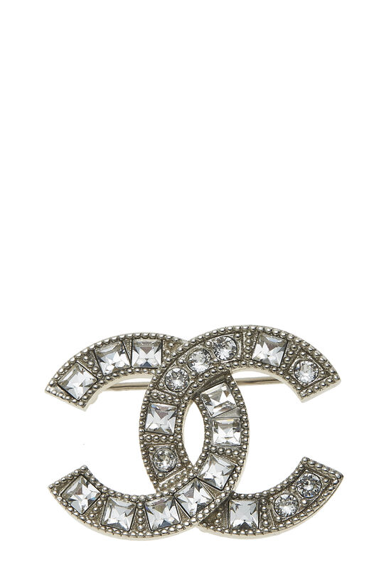 Silver Crystal 'CC' Pin, , large image number 0
